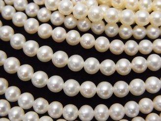 天然石卸 淡水真珠AAA 高品質ラウンド4〜4.5mm ホワイト 半連/1連(約38cm)