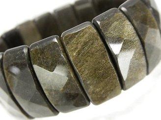 天然石卸 ゴールデンシャインオブシディアンAAA 2つ穴レクタングルカット25×10×7mm 1連(ブレス)