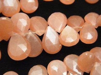 天然石卸 宝石質オレンジムーンストーンAAA ペアシェイプ ブリオレットカット 1/4連〜1連(約20cm)