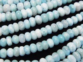 天然石卸 ラリマーAA+ ロンデル(ボタン)6×6×3 半連/1連(約37cm)
