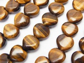 天然石卸 イエロータイガーアイAA++ 縦穴ハート10×10×5mm 半連/1連(約38cm)