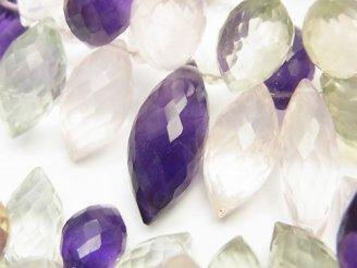 天然石卸 宝石質いろんな天然石AAA 大粒マーキスライス ブリオレットカット 半連/1連(約16cm)