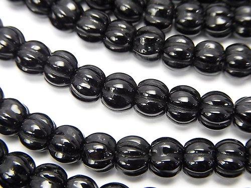 オニキス パンプキンカット6×6×5mm 半連/1連(約34cm)