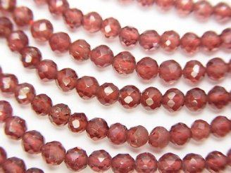 天然石卸 宝石質モザンビークガーネットAAA ラウンドカット 半連/1連(約32cm)