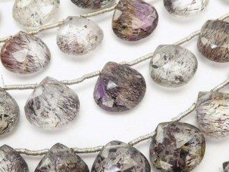 天然石卸 宝石質エレスチャルクォーツAA++ マロン ブリオレットカット 半連/1連(約17cm)