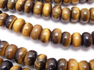 天然石卸 1連580円!イエロータイガーアイAA+ ロンデル(ボタン)8×8×4mm 1連(約37cm)
