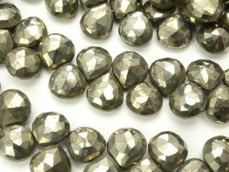 天然石卸 宝石質ゴールデンパイライトAAA マロン ブリオレットカット 半連/1連(約18cm)