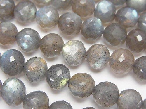 宝石質ラブラドライトAAA- ラウンドカット5〜8mm 1/4連〜1連(約34cm)