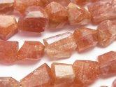 天然石卸 宝石質サンストーンAAA〜AAA- タンブルカット 半連/1連(約24cm)