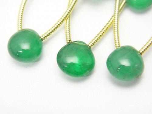 ザンビア産宝石質エメラルドAAAAA マロン(プレーン) 1連(3粒)