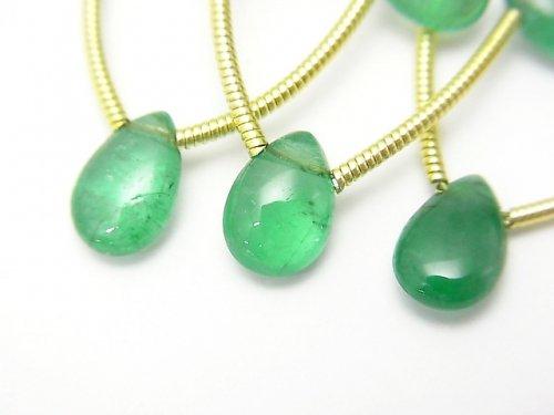 ザンビア産宝石質エメラルドAAAAA ペアシェイプ(プレーン) 1連(5粒)