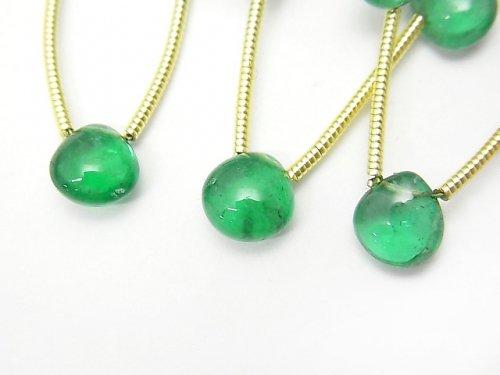 ザンビア産宝石質エメラルドAAAAA マロン(プレーン) 1連(5粒)