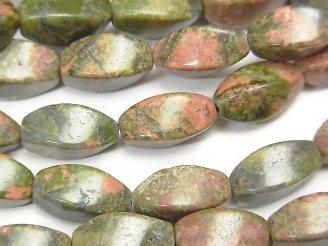 天然石卸 1連880円!ユニカイト(ユナカイト) ツイストライスカット12×6×6 1連(約37cm)