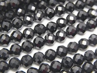 天然石卸 素晴らしい輝き!宝石質ブラックスピネルAAA ラウンドカット5mm 半連/1連(約37cm)