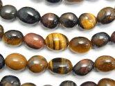 天然石卸 1連680円!タイガーアイAA++ 3色ミックス タンブル 1連(約38cm)