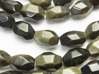 天然石卸 ゴールデンシャインオブシディアン タンブルカット 半連/1連(約38cm)