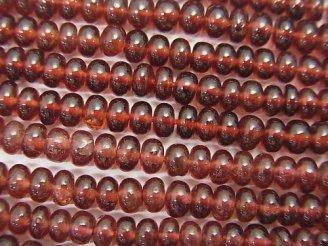 天然石卸 1連1,680円!モザンビーク産ガーネットAAA ロンデル(ボタン) 1連(約34cm)