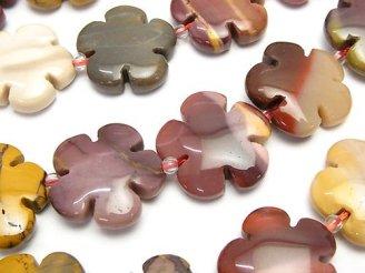 天然石卸 ムーアカイト フラワー(お花)20×20×6mm 半連/1連(約36cm)