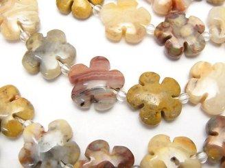 天然石卸 クレイジーレースアゲート フラワー(お花)15×15×6mm 半連/1連(約38cm)