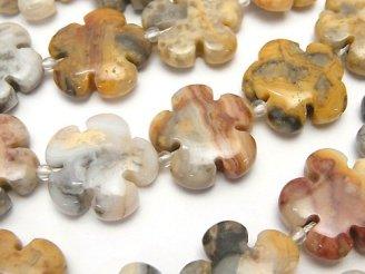 天然石卸 クレイジーレースアゲート フラワー(お花)20×20×7mm 半連/1連(約36cm)