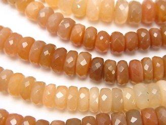 天然石卸 宝石質オレンジムーンストーンAAA〜AAA- ボタンカット カラーグラデーション 半連/1連(約18cm)