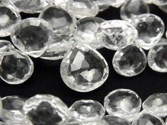天然石卸 宝石質クリスタルAAA- マロン ブリオレットッカット 半連/1連(約18cm)