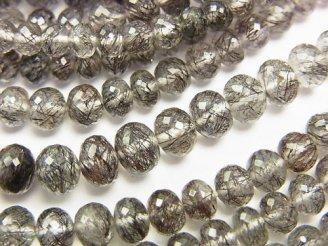 天然石卸 極上カット!宝石質トルマリンクォーツAAA+ ボタンカット 半連/1連(約38cm)