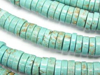 天然石卸 1連480円!マグネサイトターコイズ ロンデル(チューブ・ディスク)8×8×2mm 1連(約38cm)