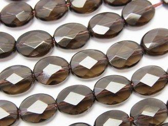 天然石卸 スモーキークォーツAAA オーバルカット10×8×5 半連/1連(約36cm)