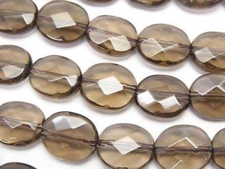 天然石卸 スモーキークォーツAAA オーバルカット12×10×6 半連/1連(約36cm)