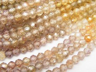 天然石卸 宝石質天然マルチカラージルコンAAA ラウンドカット 半連/1連(約36cm)
