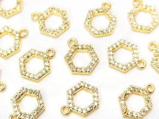 天然石卸 3個380円!メタルパーツ ヘキサゴン チャーム(CZ付き) ゴールドカラー 3個