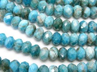 天然石卸 素晴らしい輝き!ブルーアパタイトAA+ ボタンカット6×6×4 半連/1連(約38cm)