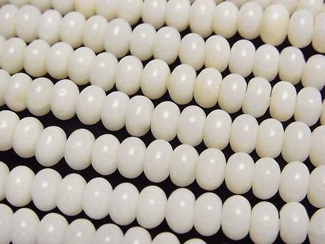 ホワイトコーラル(白珊瑚) ロンデル5×5×3mm 1連(約38cm)