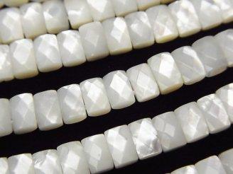 天然石卸 高品質ホワイトシェルAAA 2つ穴レクタングルカット6×4×3 1/4連〜1連(約38cm)