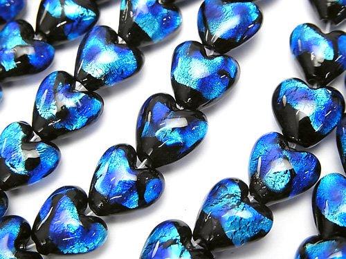 とんぼ玉 縦穴ハート10×10×6mm 【ブルー×ライトブルー】 半連/1連(約24cm)