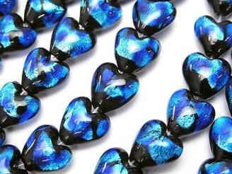天然石卸 とんぼ玉 縦穴ハート10×10×6mm 【ブルー×ライトブルー】 半連/1連(約24cm)
