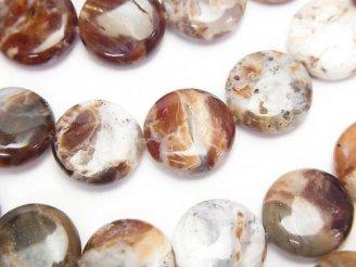 天然石卸 ブランデーオパール コイン12×12×4 半連/1連(約38cm)