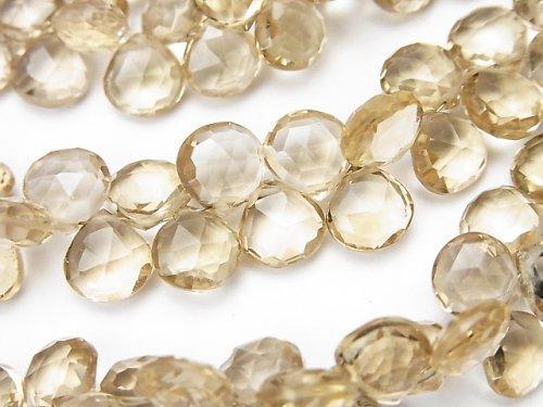 宝石質シャンパンクォーツAAA マロン ブリオレットカット 1/4連〜1連(約16cm)