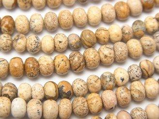 天然石卸 1連780円!ピクチャージャスパー ロンデル(ボタン)5×5×4 1連(約38cm)