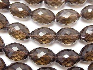 天然石卸 素晴らしい輝き!スモーキークォーツAAA ライスカット14×10×10mm 1/4連〜1連(約36cm)