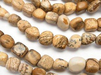 天然石卸 1連380円!ピクチャージャスパー 小粒タンブル 1連(約37cm)