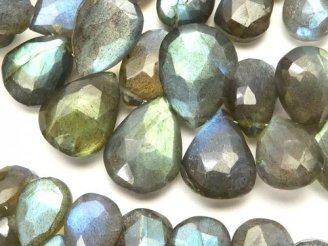 天然石卸 宝石質ブルーラブラドライトAAA- ペアシェイプ ブリオレットカット 半連/1連(約18cm)