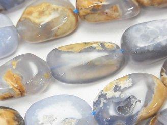 天然石卸 1連1,580円!ブルーカルセドニーAA+ 母岩付タンブル 1連(約35cm)