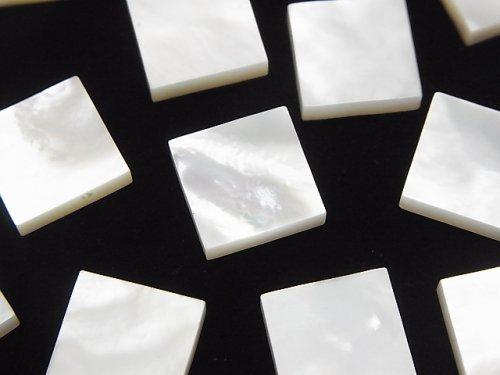 高品質ホワイトシェル(白蝶貝)AAA 穴なしスクエア12×12×3mm 4個