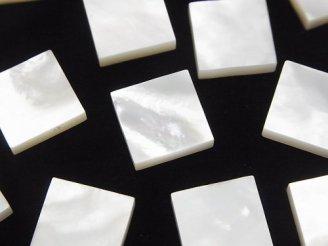 天然石卸 高品質ホワイトシェル(白蝶貝)AAA 穴なしスクエア12×12×3 4個480円!
