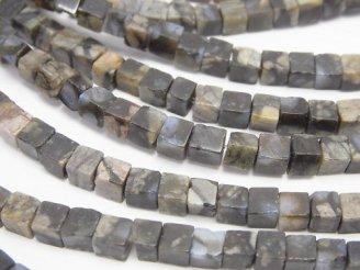 天然石卸 1連780円!コングロメレイト(ケセラストーン) キューブ4×4×4 1連(約38cm)
