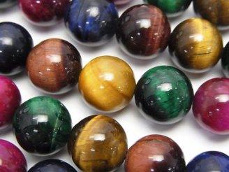 天然石卸 5色ミックスカラータイガーアイAA++ ラウンド12mm 半連/1連(約36cm)