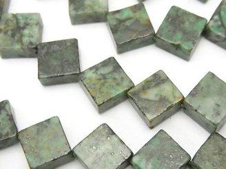 天然石卸 アフリカンターコイズ フラットダイヤ12×12×5 半連/1連(約37cm)