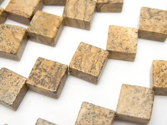 天然石卸 1連880円!ピクチャージャスパー フラットダイヤ12×12×5 1連(約36cm)